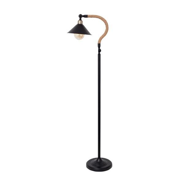 Lámpara de pie metálica negra y cuerda de cañamo Soga 28x40x150h cm