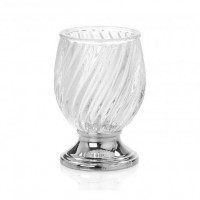 Vaso portacepillos cristal relieve base plateada 7,5x12,5cm