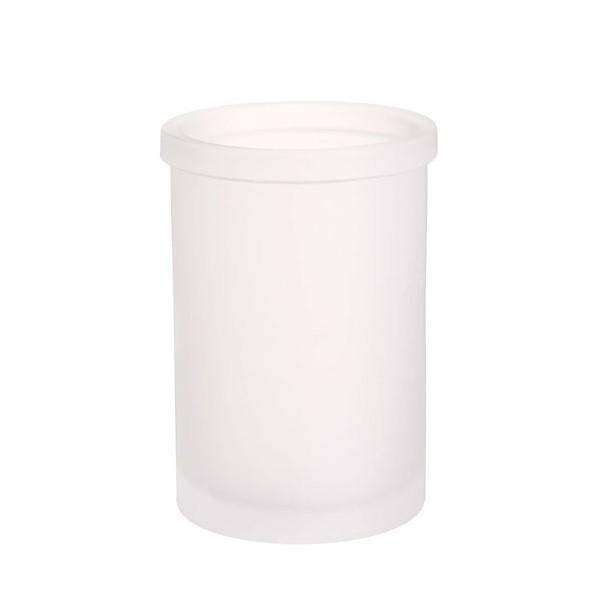Vaso portacepillos cristal liso opaco Frosted 8x11h cm