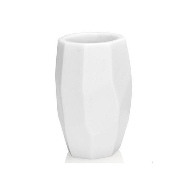 Vaso portacepillos poliresina geométrico blanco 8x11,2h cm