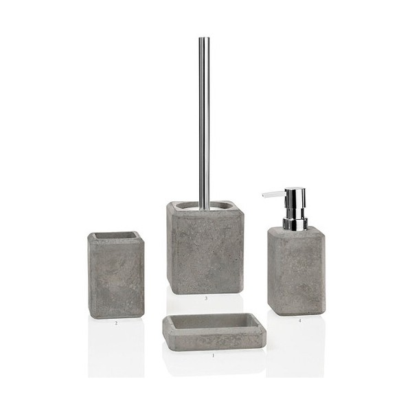 Vaso portacepillos cuadrado cemento gris 7x10h cm