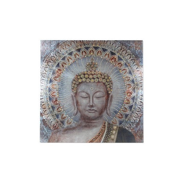 Lienzo cuadro cara Buda marrón y azul 80x80 cm