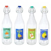 Botella de mesa cristal con tapón decorada con mensajes 4 modelos 8,5x31h cm