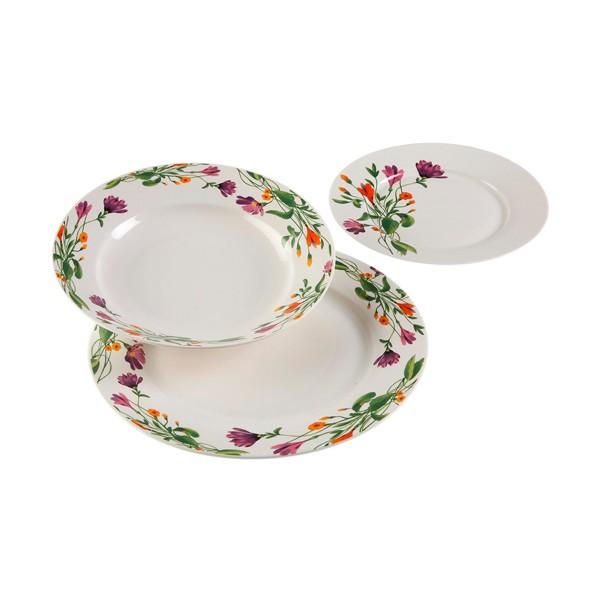 Vajilla porcelana blanca con flores Florian18 piezas