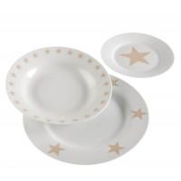 Vajilla porcelana Stars estrellas beige 18 piezas