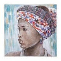Cuadro lienzo oleo mujer africana aplicaciones tela colores Village GBR133 100x100 cm
