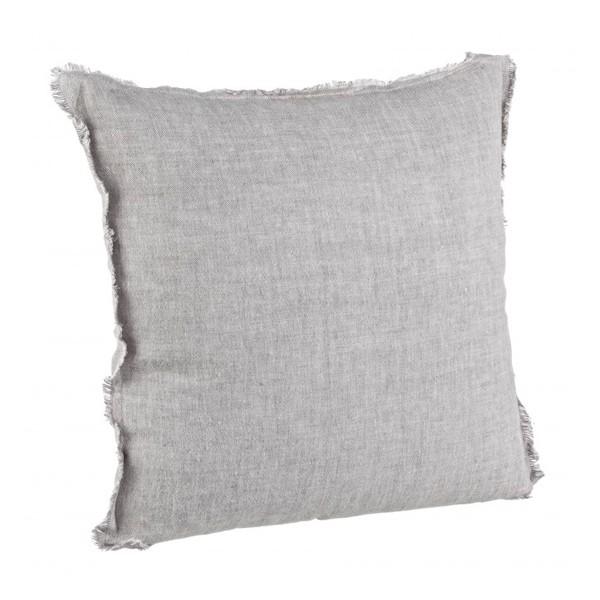 Cojín lino con relleno gris con flecos 45x45 cm