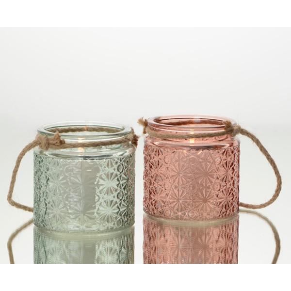 Farol porta velas cristal flores en relieve y asa cuerda 2 colores Ø8.5x8.5h cm