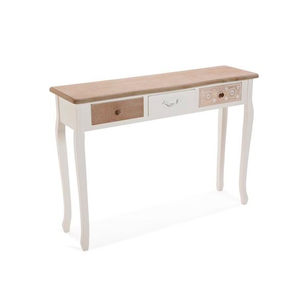 Consola mesa entrada en madera con 3 cajones natural, blanco y tallado Boedo