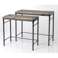 Set 2 consolas estilo industrial patas negras con tablero madera abeto
