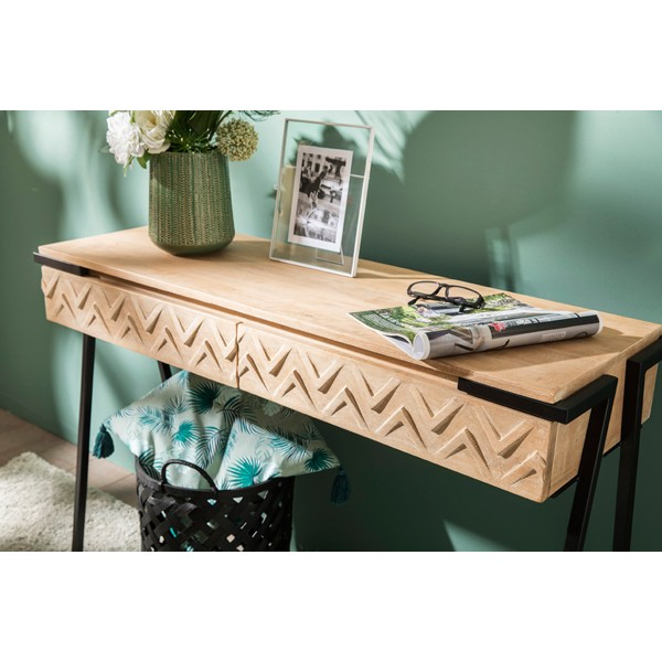 Consola madera de mango 2 cajones Zig 110x35x75h cm