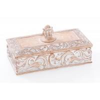 Caja con tapa rectangular poliresina efecto madera tallada 18x10x6h cm