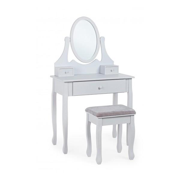 Consola tocador con espejo gris claro con taburete Cinderella 80x40x137 cm
