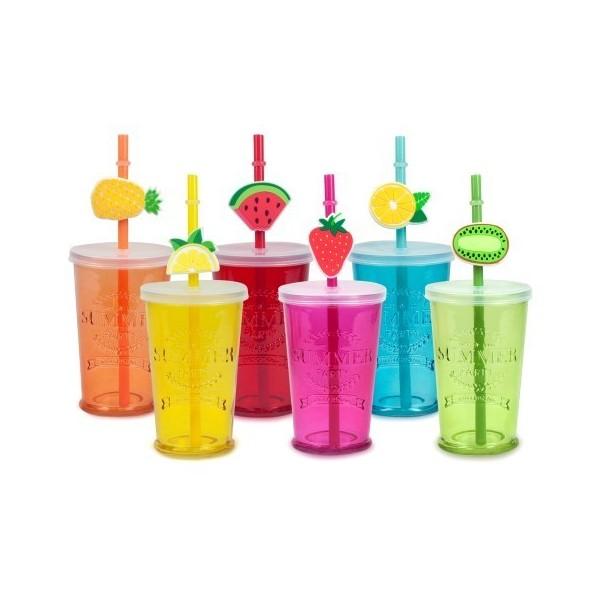 Vaso cristal colores con tapa y pajita decorada con frutas 7,5x11,5h cm