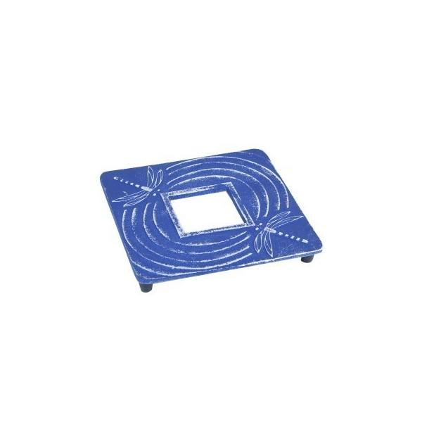 Salvamantel cuadrado hierro color azul oscuro con libelulas para teteras 14x14 cm
