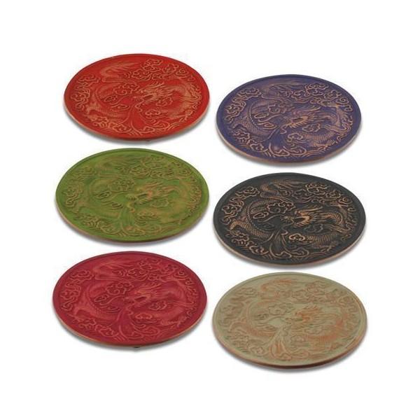 Salvamantel redondo hierro varios colores con dragón para teteras 15 cm