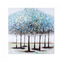 Cuadro lienzo oleo bosque árboles en tonos azules 80x80 cm