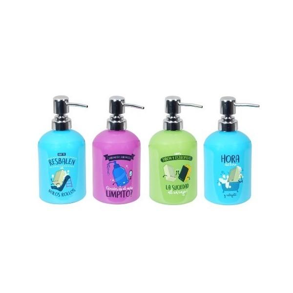 Dispensador de jabón baño cristal colores con frases divertidas 8x8x18h cm