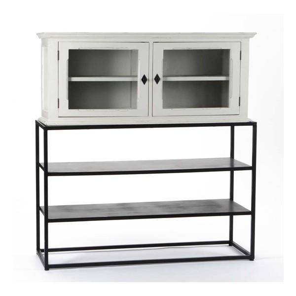 Vitrina madera gris con 2 puertas cristal + estructura metálica 2 baldas 120x40x130h cm