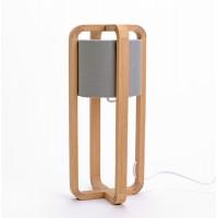 Lámpara de mesa madera y pantalla gris estilo nórdico Mara 15x15xh40 cm