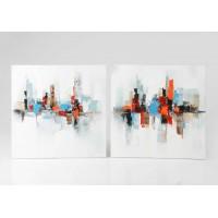 Lienzo cuadro abstracto edificios colores rojo, gris y naranja 2 modelos 80x80 cm