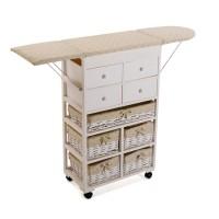 Mueble cajonera blanco madera con mesa plancha con 5 cestas mimbre forradas y 4 cajones 120x32x83h cm