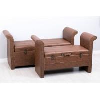 Puff baúl con reposa brazos polipiel marrón claro grande 135x47x70h cm