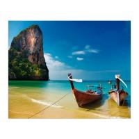 Cuadro fotoimpresión playa Bali con barcas típicas 100x3x80h cm