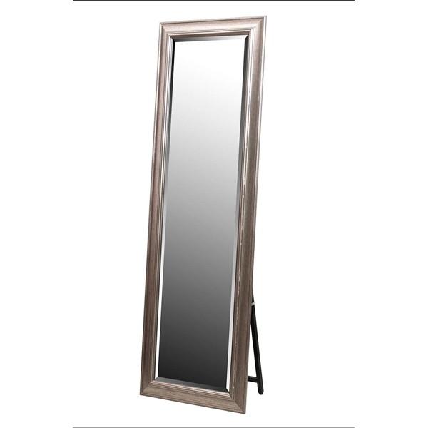 Espejo resina marco plata liso con soporte 40x150h cm ext. 60,8x170,8 h cm