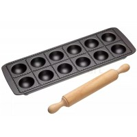 Bandeja molde para hacer raviolis 5x5cm con rodillo madera