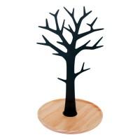 Joyero de sobremesa árbol metálico negro con base madera