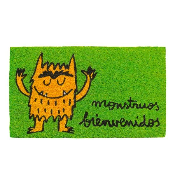Felpudo verde frase divertida: monstruos bienvenidos 70x40cm felpudo verde laroom anna llenas