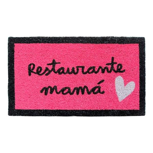 Felpudo rosa con frase divertida: restaurante mamá 70x40cm felpudo rosa laroom anna llenas