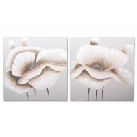 Lienzo cuadro flor blanca y marrón 2 modelos 100x100h cm