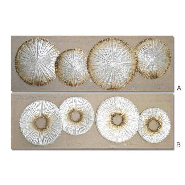 Lienzo cuadro apaisado abstracto circulos plateados y dorados 2 modelos 150x3x50h cm