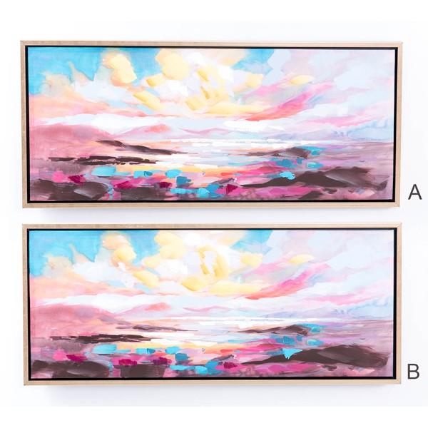 Lienzo cuadro apaisado atardecer colores vivos con marco dorado 2 modelos 125x4x55h cm
