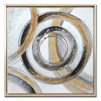 Lienzo cuadro abstracto círculos negros y dorados con marco 63x63h cm