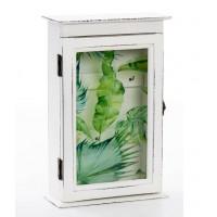 Caja con cuelga llaves con puerta madera blanca hojas palmera y 6 colgadores 20x8x30h cm