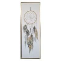 Cuadro lienzo atrapasueños con plumas con marco dorado 54x4x154h cm