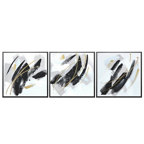 Composición 3 lienzos abstractos trazos negros y dorados con marco negro 43x43h cm