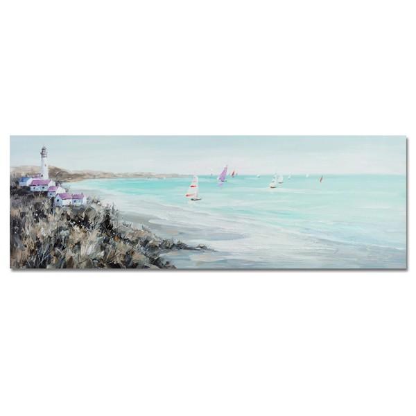 Lienzo cuadro apaisado playa veleros y pueblo con faro 150x50h cm