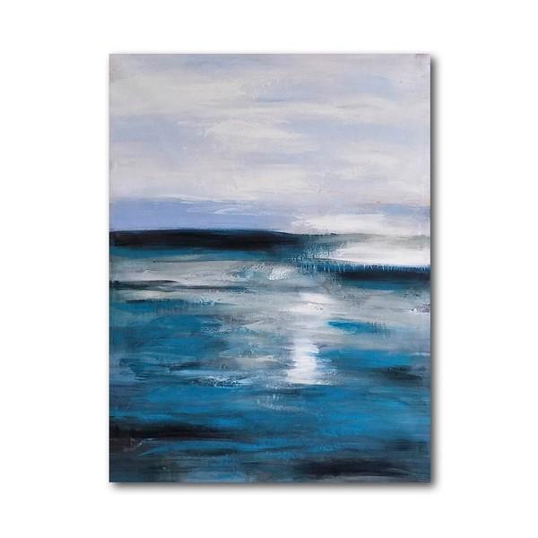 Lienzo cuadro abstracto trazos mar azul 90x102h cm