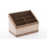 Portamandos polipiel beige con rombos y remate beige 5 espacios 20x12x15h cm