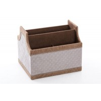 Portamandos polipiel gris claro con rombos y remate beige 6 espacios 18x15x15h cm