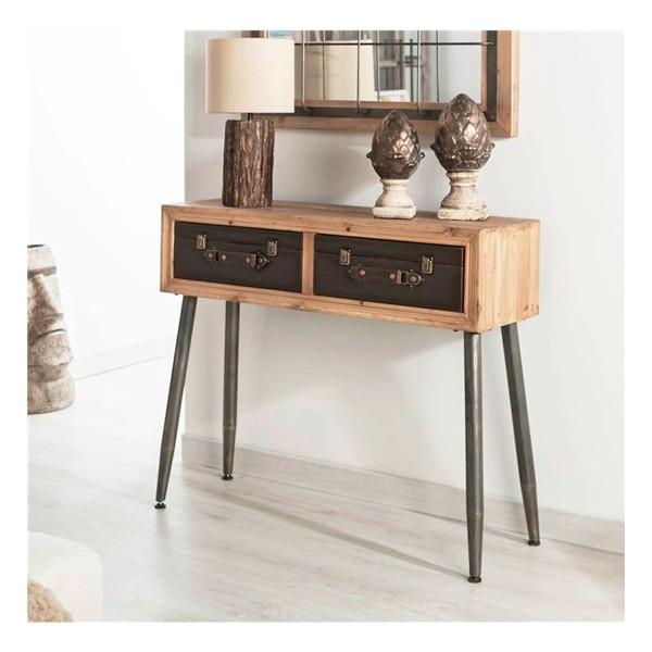 Consola industrial madera y patas color negro con 2 cajones 90x30x79h cm