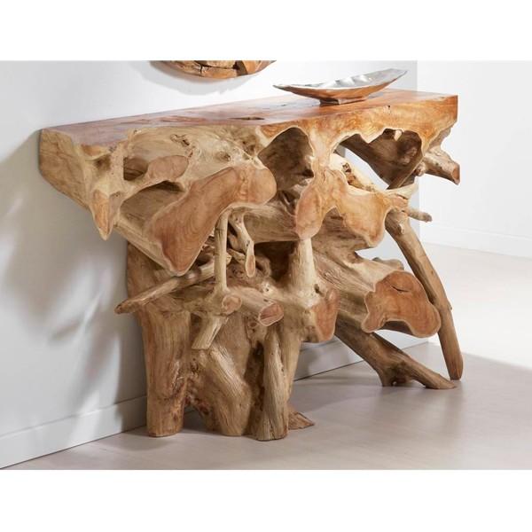 Consola de madera maciza de raíz de teka 120x35x80h cm