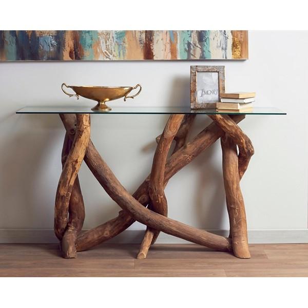 Consola con patas madera troncos de teka y repisa de cristal 140x40x78h cm