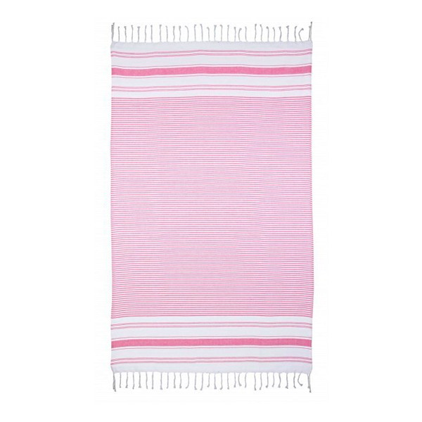 Toalla playa tela 100% algodón rayas rosas con flecos 104x180 cm