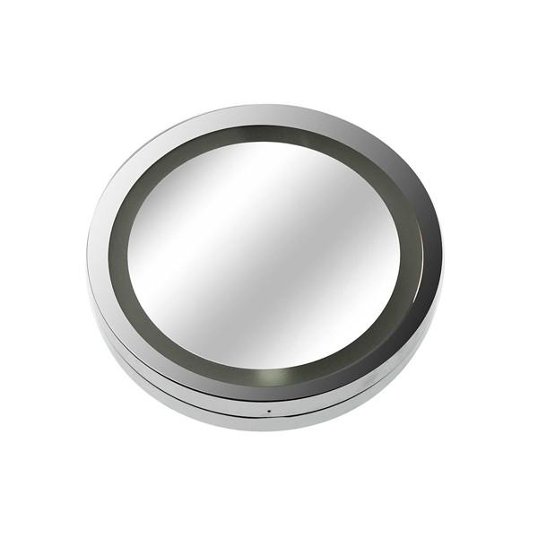 Espejo de aumento x5 redondo con luz led y ventosas 15x2,5x15 cm