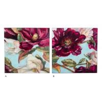 Lienzo cuadro cuadrado flores burdeos y blancas con detalles dorados 60x3x60 cm